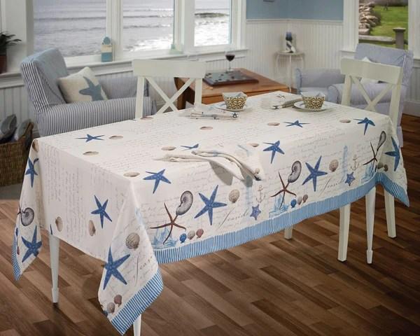 Antiqua Tablecloth Collection ocean insprired print  Beach House Linens