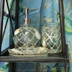 Valances For Kitchens Spraying Kitchen Cabinets Beach Glass Bath, Toothbrush Holder, Wastebasket, Tissue ...