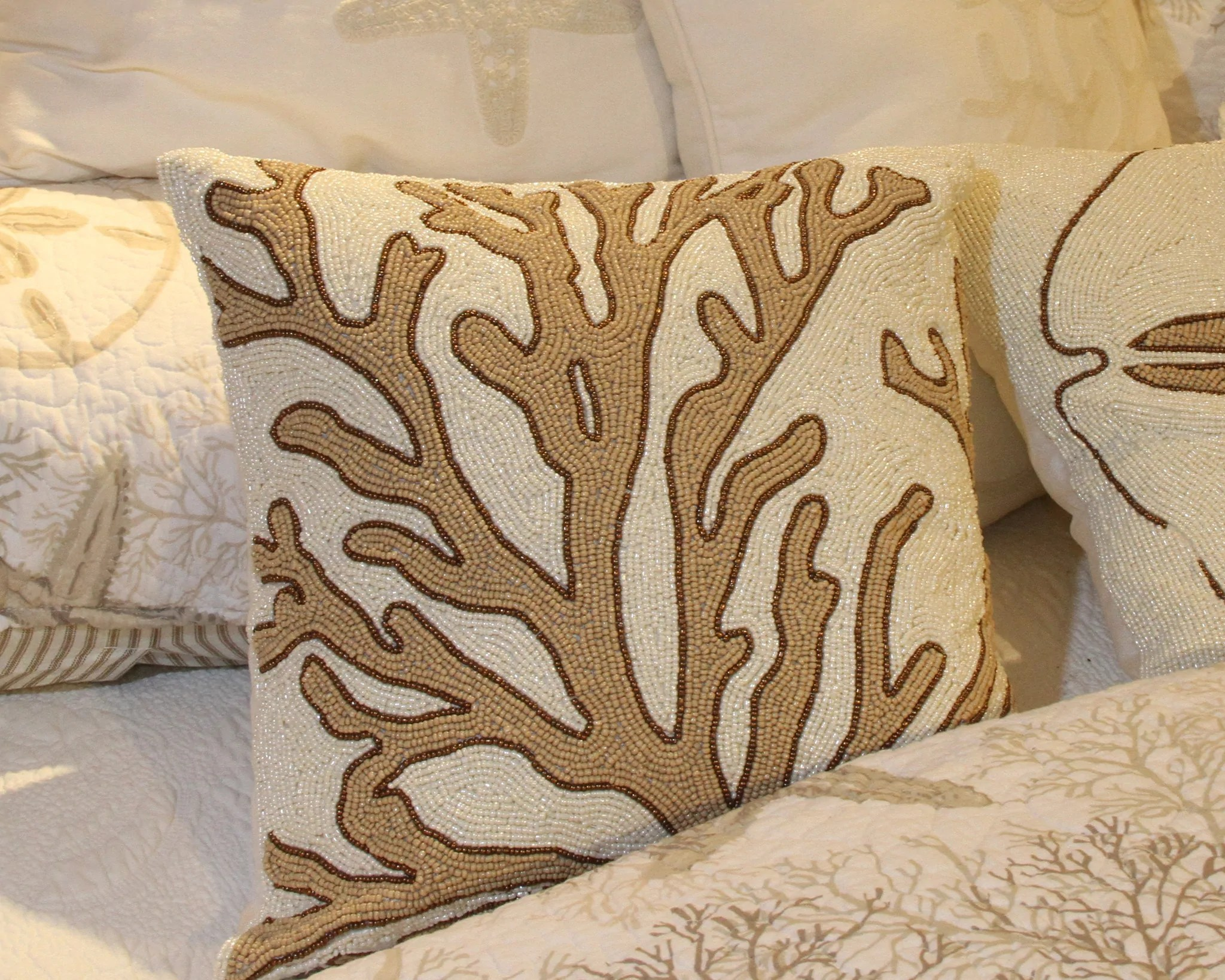 """Beaded Coral 16"""" Pillow Beach House Linens"""