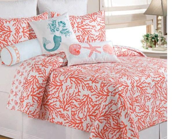 Cora Quilt Ensemble from CF Enterprises in color coral  Beach House Linens