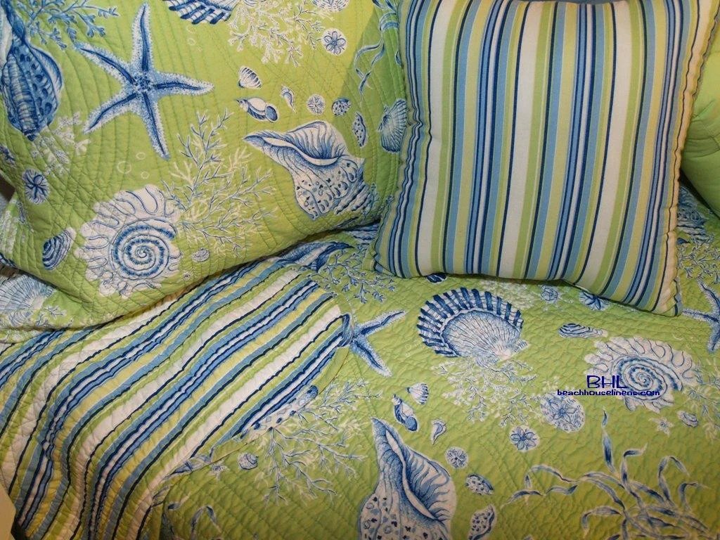 Green Shells Twin Quilt Set from CF royal blue shells on
