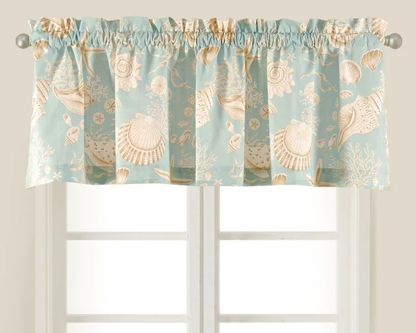 Natural Shells taupe and aqua shell valance from CF