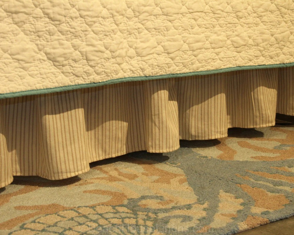 """Beige & Tan Woven Stripe 14"""" Bedskirt Beach House Linens"""