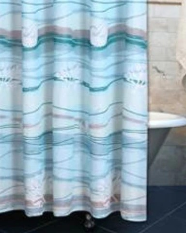 Shower Curtains in stripes and coastal prints fabric and