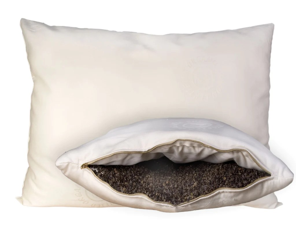 WoolWrapped Organic Pillow BuckwheatHull Pillow  Luxurious Beds and Linens