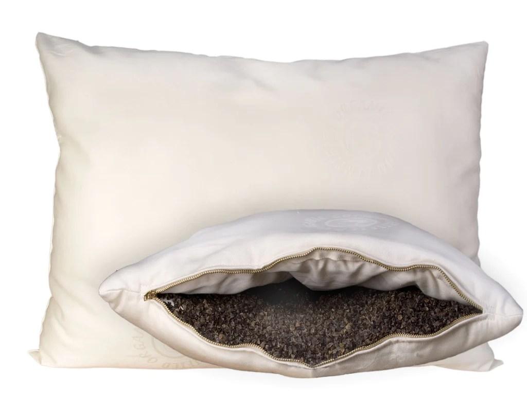 WoolWrapped Organic Pillow BuckwheatHull Pillow