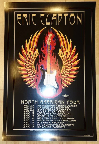 2010 Eric Clapton  North American Tour Concert Poster by