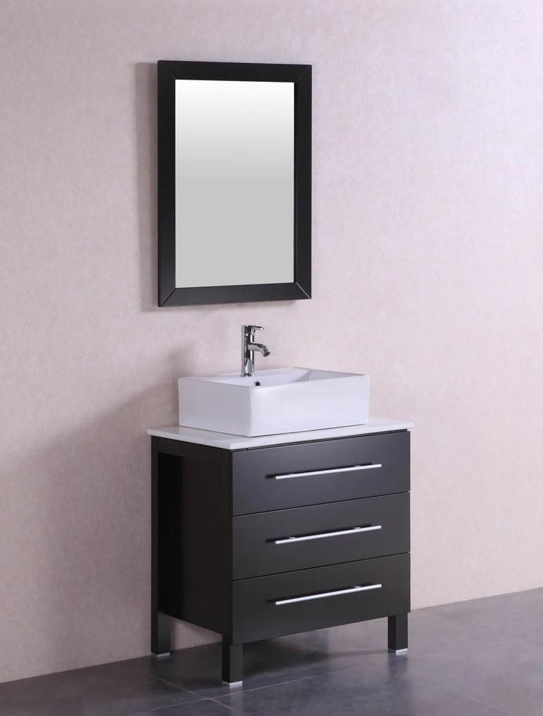 Larry 28 inch Modern Espresso Bathroom Vanity w Stone Countertop  V  Belvedere Bath