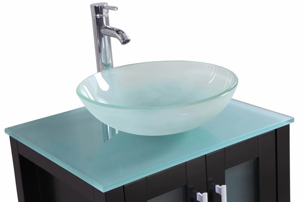 Stephen  24 Inch Espresso Bathroom Vanity w Glass Sink