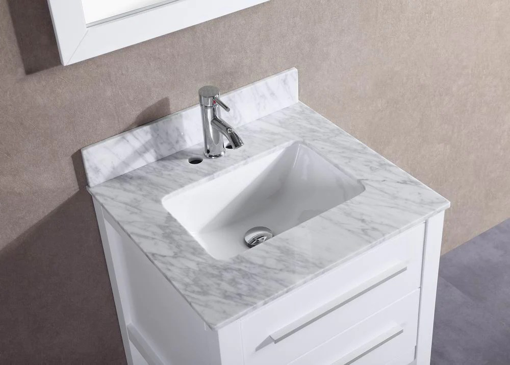 Hailey 24 inch White Bathroom Vanity w Marble Top