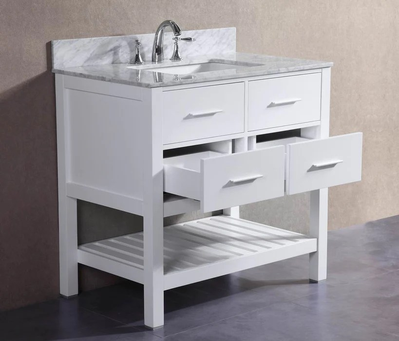 Charlotte 36 inch White Bathroom Vanity w Marble Top  Belvedere Bath