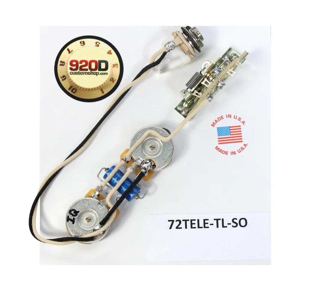 Fender '72 Thinline Tele Telecaster Wiring Harness Solid Shaft