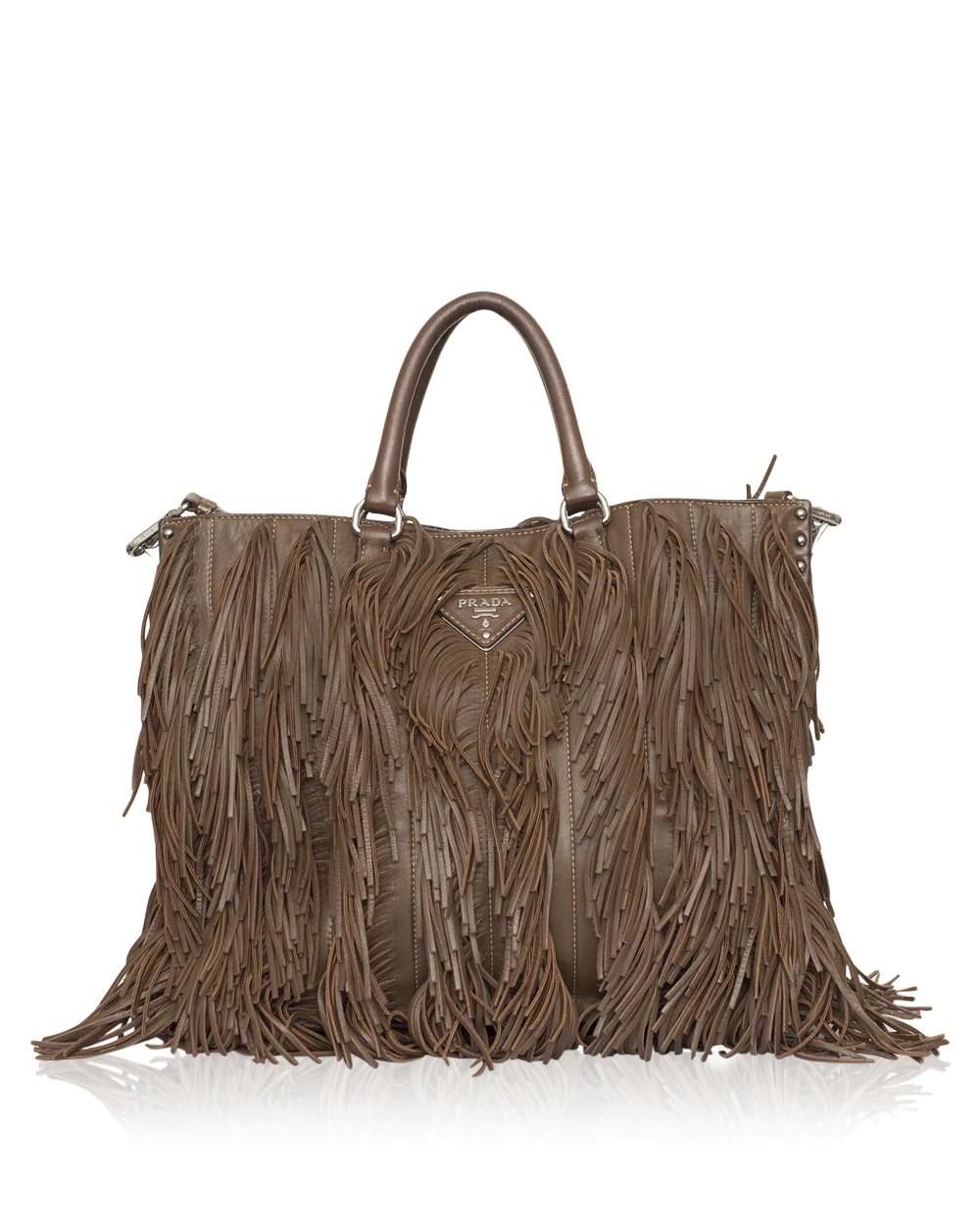 Prada Brown Nappa Fringe Tote Bag High Fashion Society