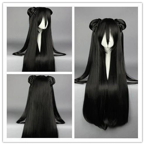 85cm synthetic long straight black
