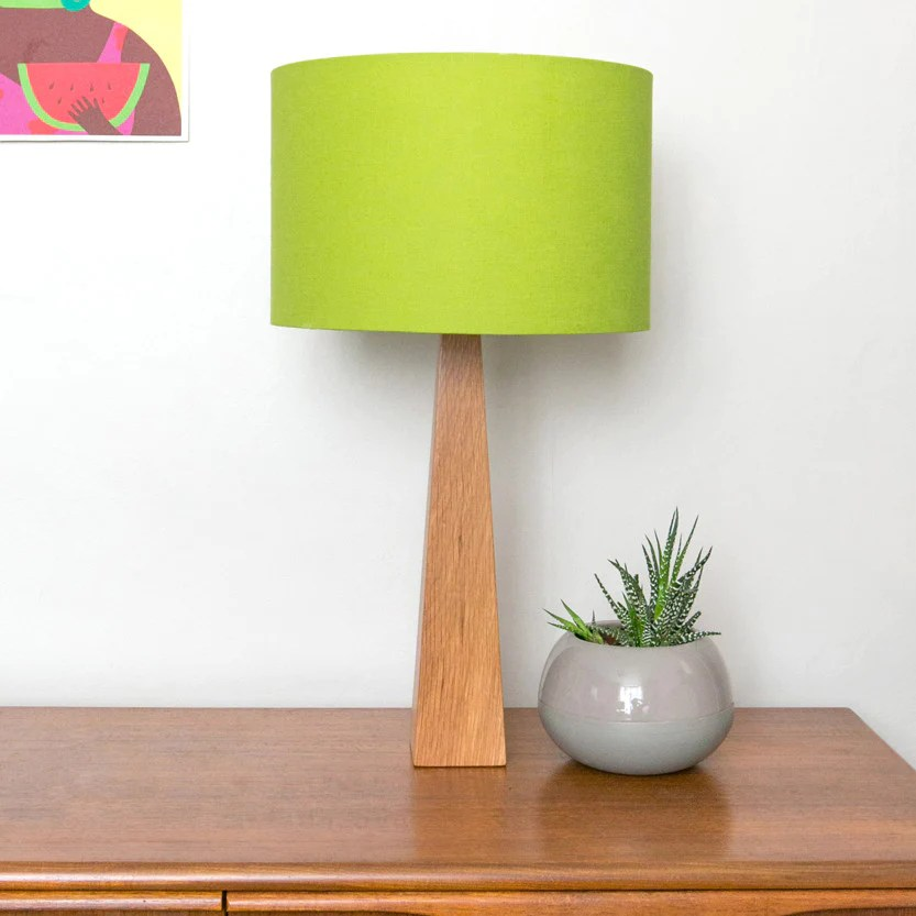 Lime Green Wooden Contemporary Handmade Table Lamp Hunkydory Home