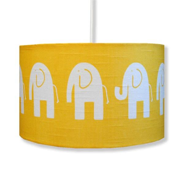 Yellow Elephant Funky Childrens Drum Lamp Shade