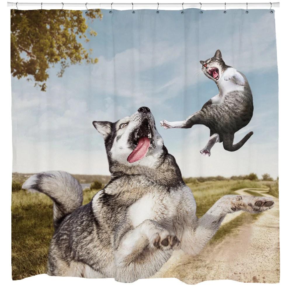 cat vs dog shower curtain