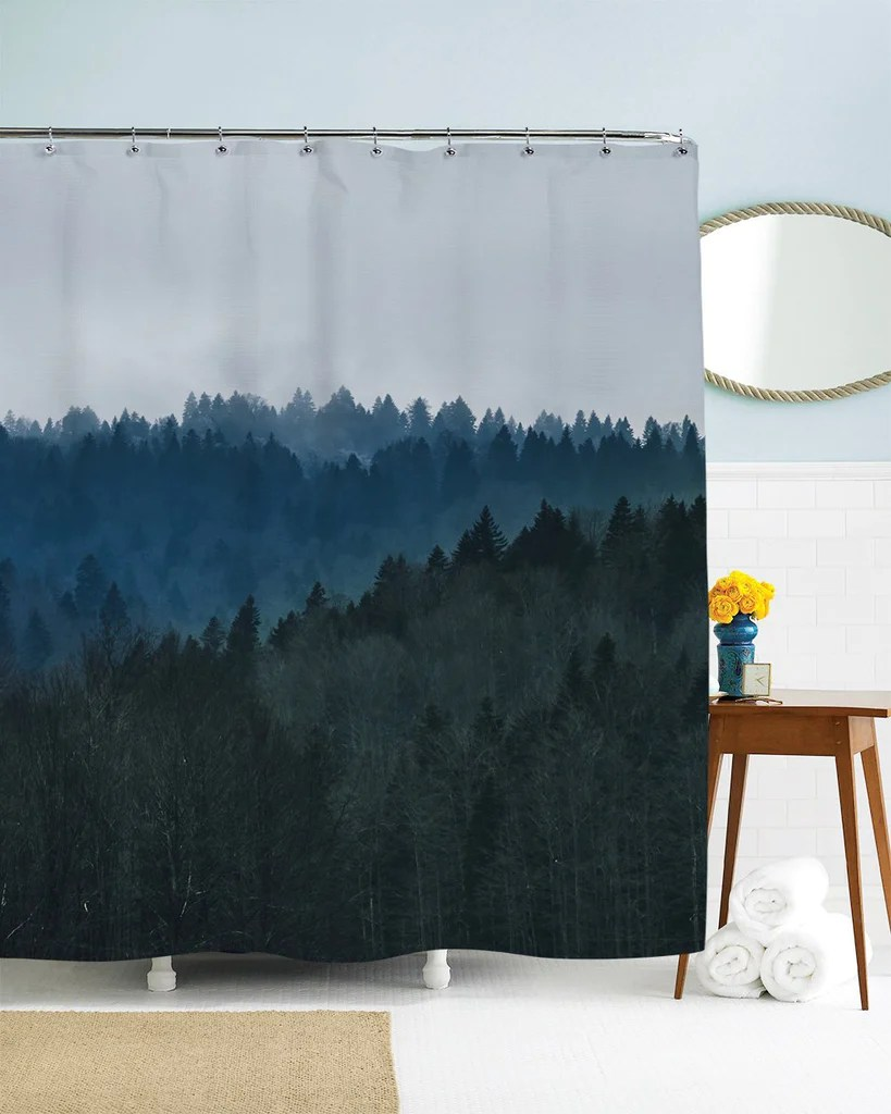 Bathroom Shower Curtain Trees Shower Curtain Mountain Shower Curtain Scenic Shower Curtain Nature Shower Curtain Blue Bathroom Decor Grey Fabric