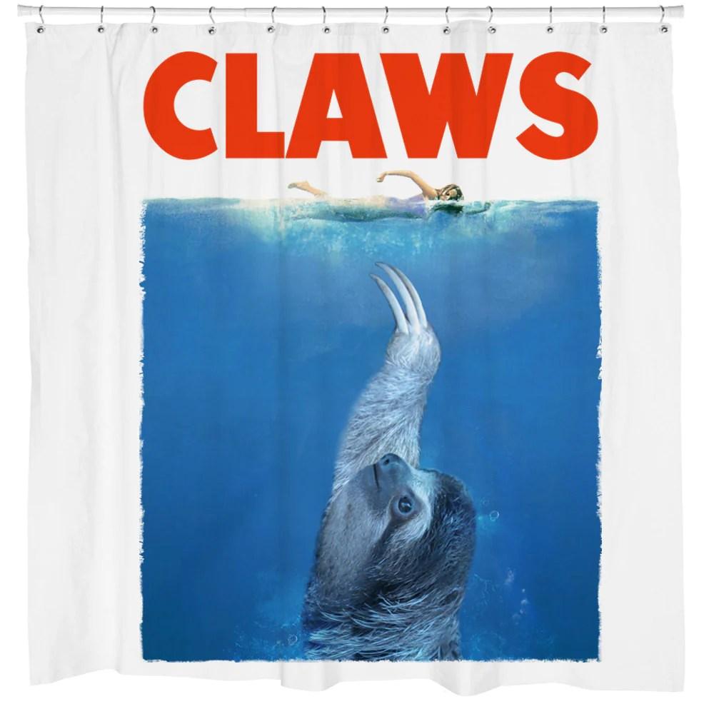 CLAWS Sloth Shower Curtain  Sharp Shirter