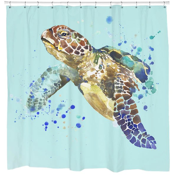 Turtle Splash Shower Curtain Sharp Shirter