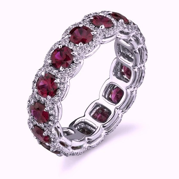 446ct Round Diamond Ruby Halo Eternity Ring Wedding Band 18kt gold  JEWELFORME