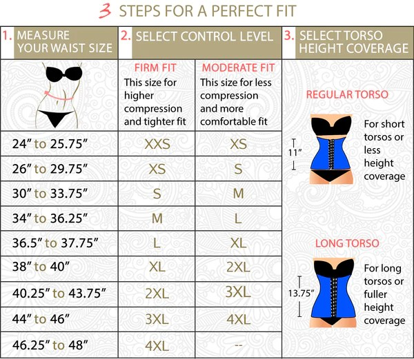 Select   or waist cincher height coverage this is personal preference sizes have   clong after size also chart perfect fit cinchers ursulabodyshapers rh