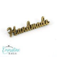 "Metal Bag Label: Script Style ""handmade"" in 5 Finishes"