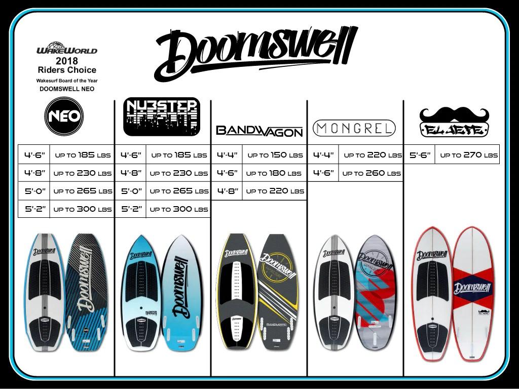 also doomswell wakesurf board size chart boarding co rh