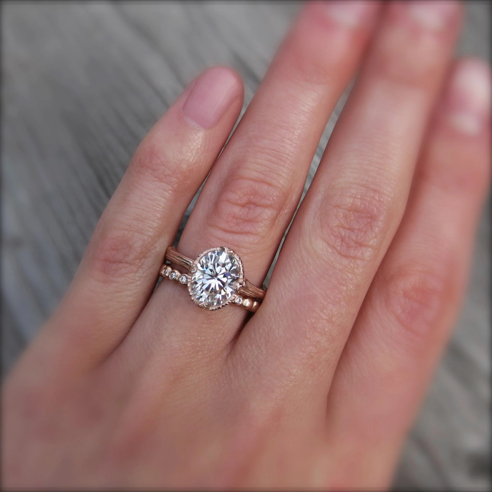 Oval Supernova Moissanite Twig Engagement Ring; 2ct - Kristin Coffin Jewelry