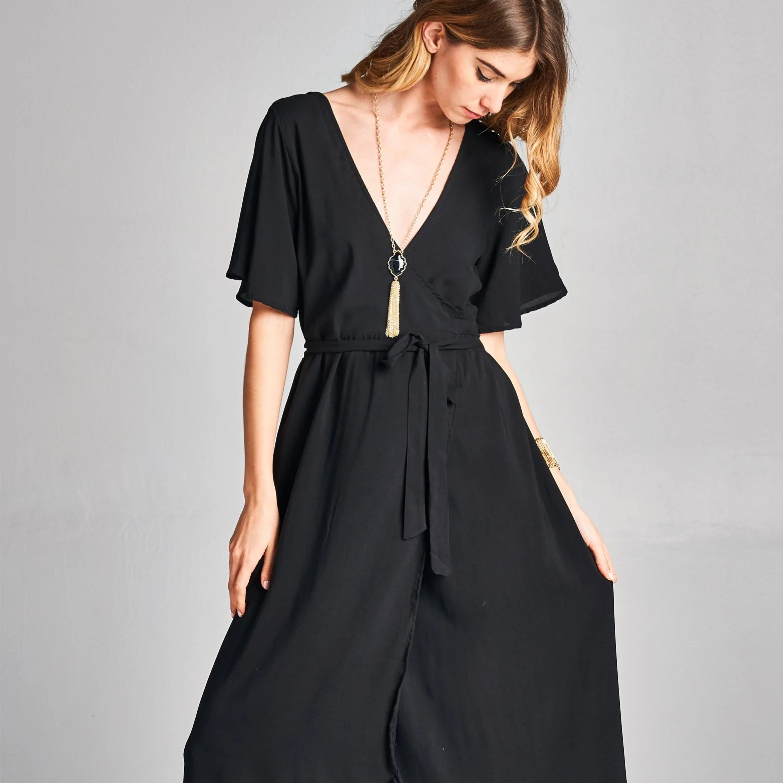 Black Wrap around Dress