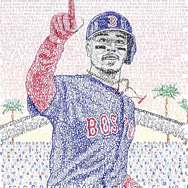mookie betts word art poster  boston red sox gifts