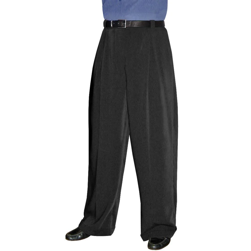 Men' Black Wide Leg Pleated Trousers Limited Sizes