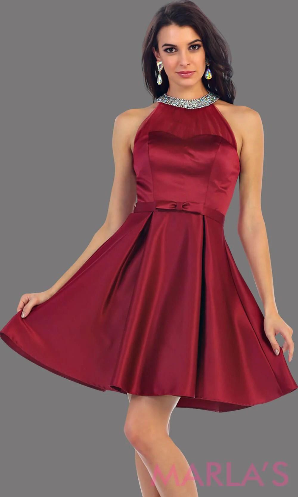 Short High Neck Bridesmaid Dress Burgundy