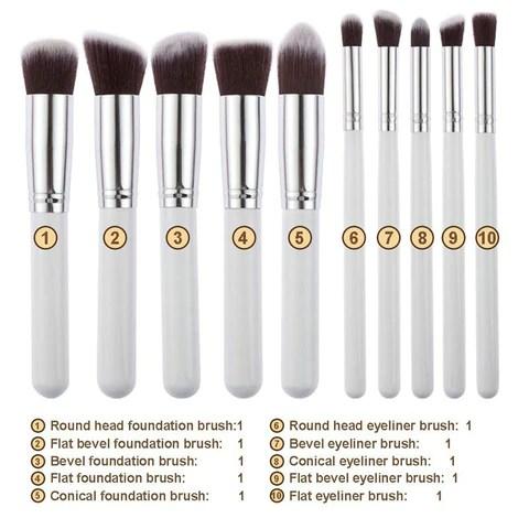 10 Piece White And Gold Kabuki Brush Set 5