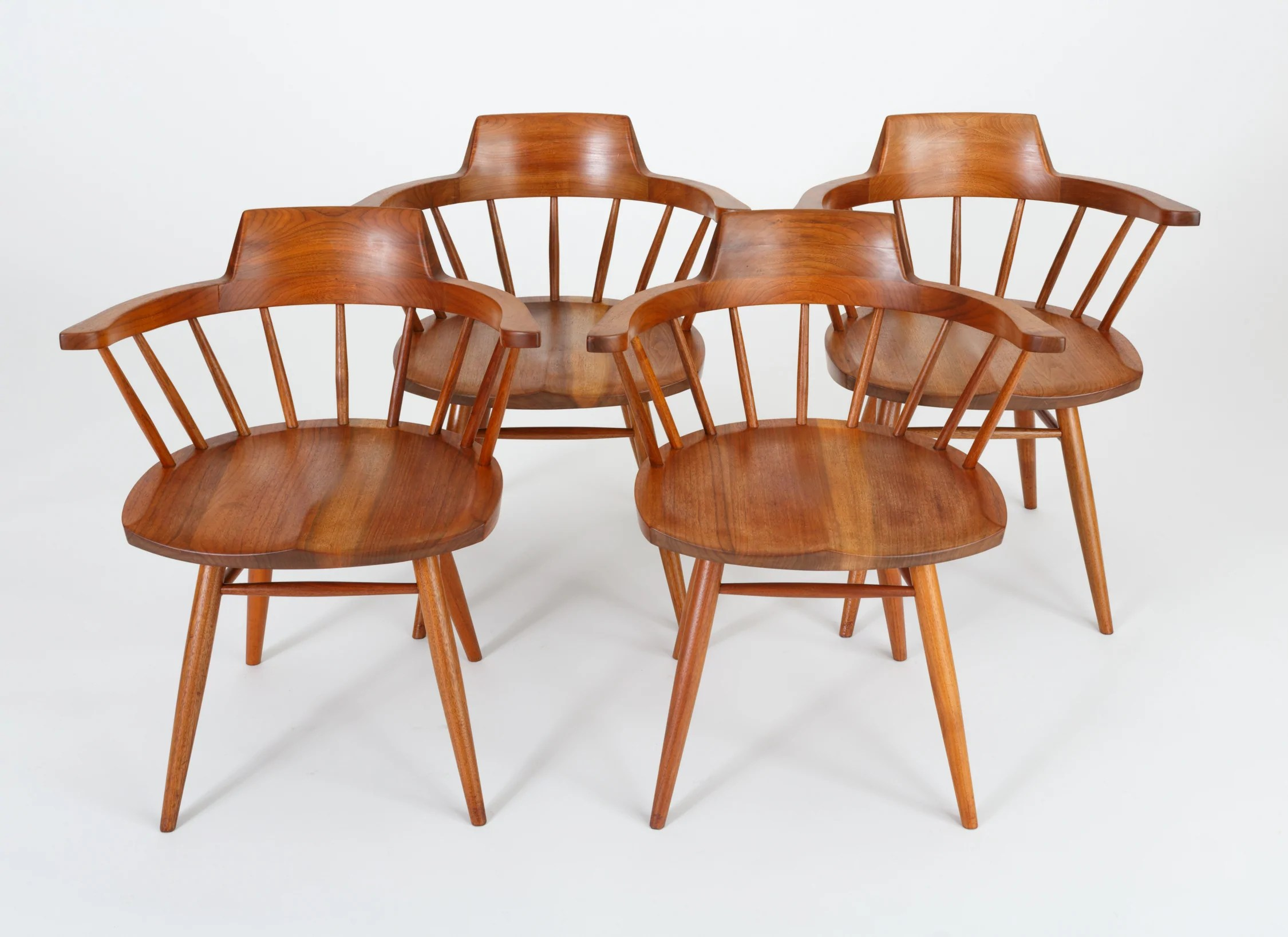 Windsor Chairs Black Set Of Four Black Walnut Captain Chairs By George Nakashima Studio