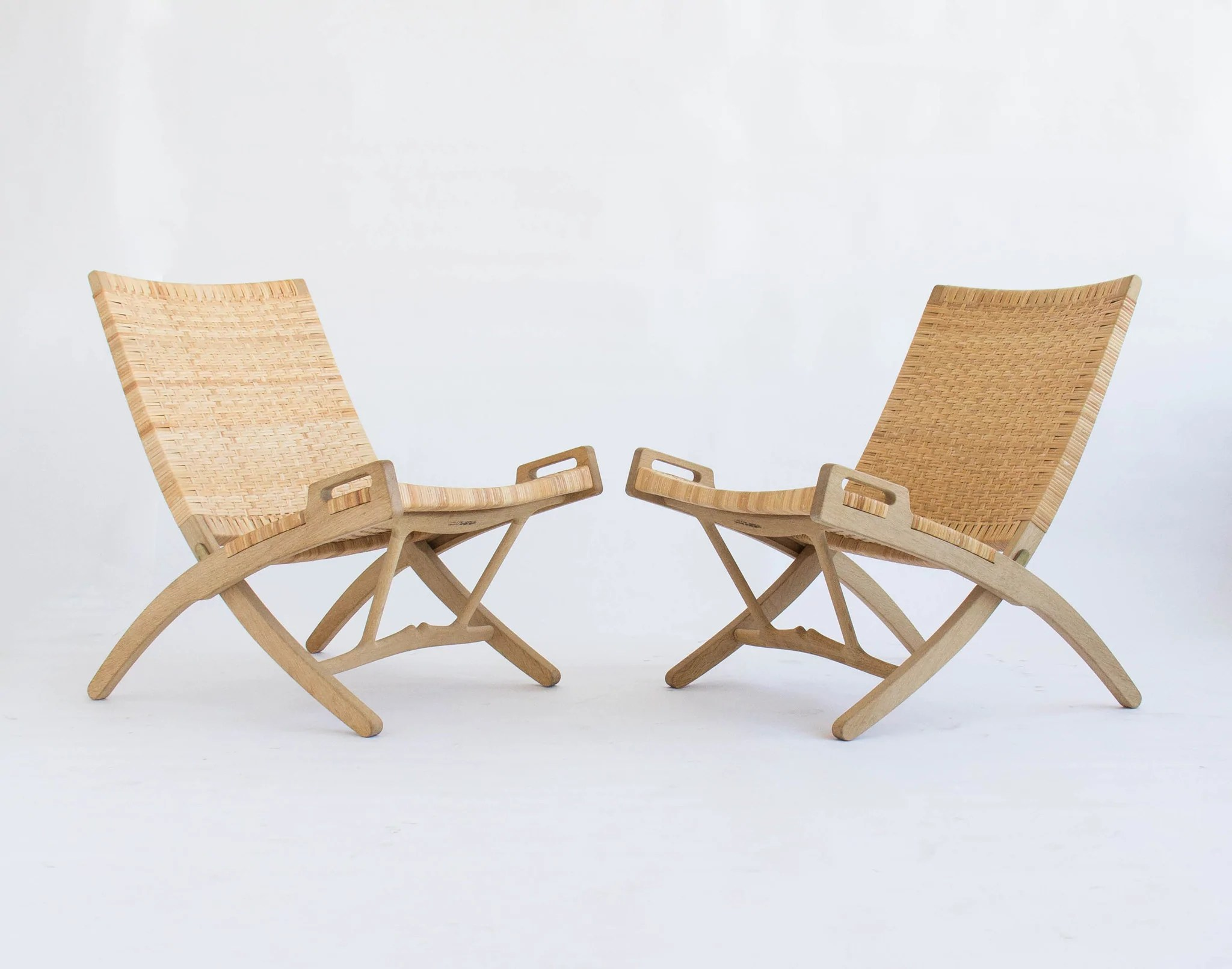 Hans Wegner Folding Chair Pair Of Oak And Cane Folding Lounge Chairs By Hans Wegner
