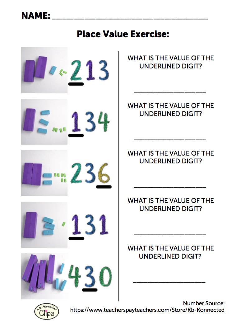 Free 2nd Grade Worksheet: Understanding Place Value of 3-digit Numbers –  Digi-Block Store [ 1070 x 775 Pixel ]