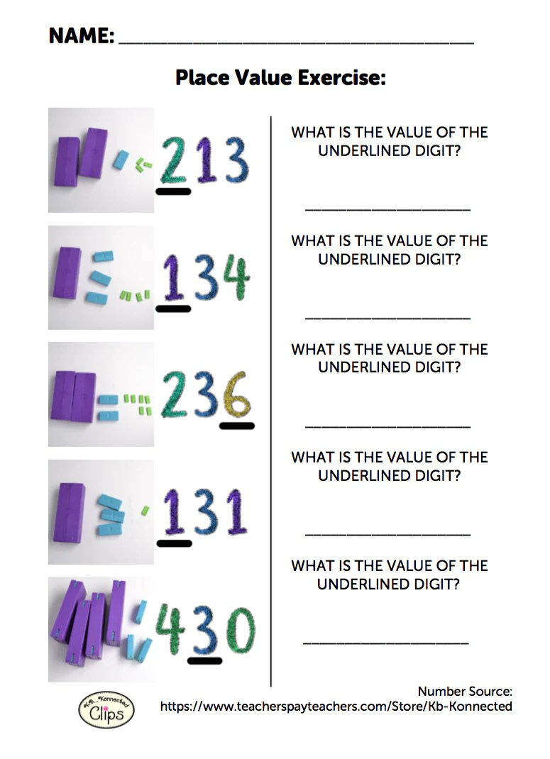 small resolution of Free 2nd Grade Worksheet: Understanding Place Value of 3-digit Numbers –  Digi-Block Store