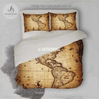 America old map bedding, Vintage South and North America ...
