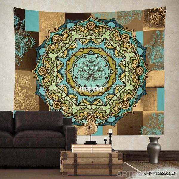 Bohemian Tapestry Lotus Mandala tapestry wall hanging