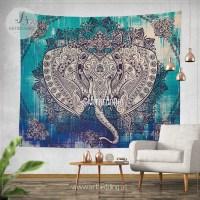 Boho Elephant Tapestry, Ganesh Elephant wall hanging