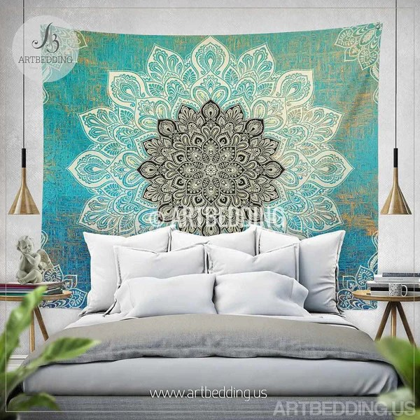 turquoise bohemian bedroom ideas Boho Tapestry, Mandala tapestry wall hanging, bohemian decor - ARTBEDDING