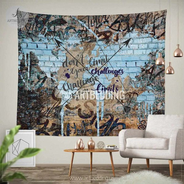 Boho tapestry Urban graffiti wall Tapestry Inspirational quote wall decor Hippie tapestry