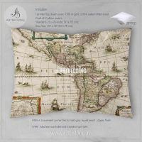 America Old map bedding, Vintage old World map duvet cover ...