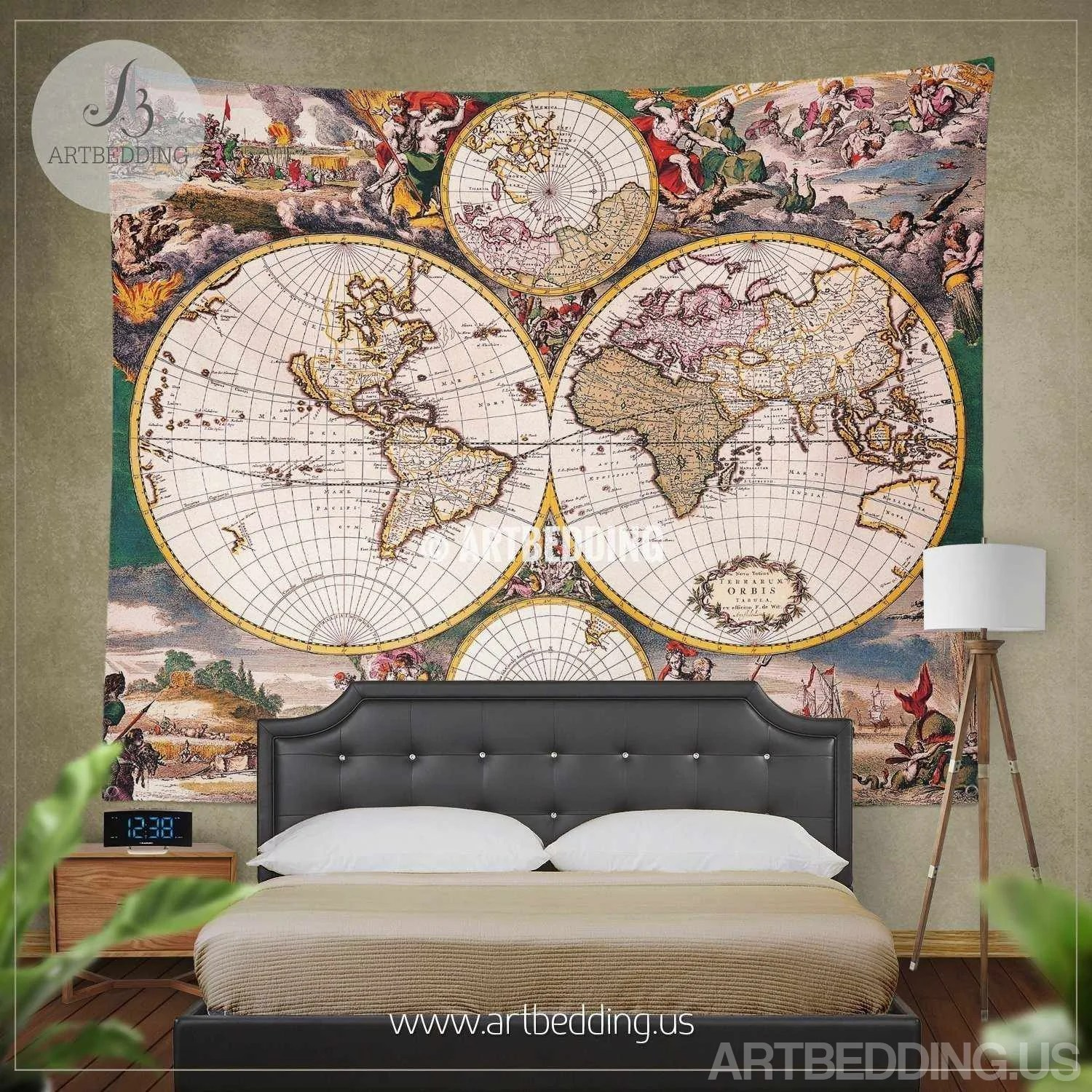 Old World Map Bedding Vintage 18th Century Hemisphere
