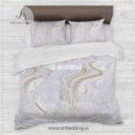 Travel Map Bedding Abstract White And Gold Liquid Marble Map Duvet Cover Set Map Comforter Set Artbedding
