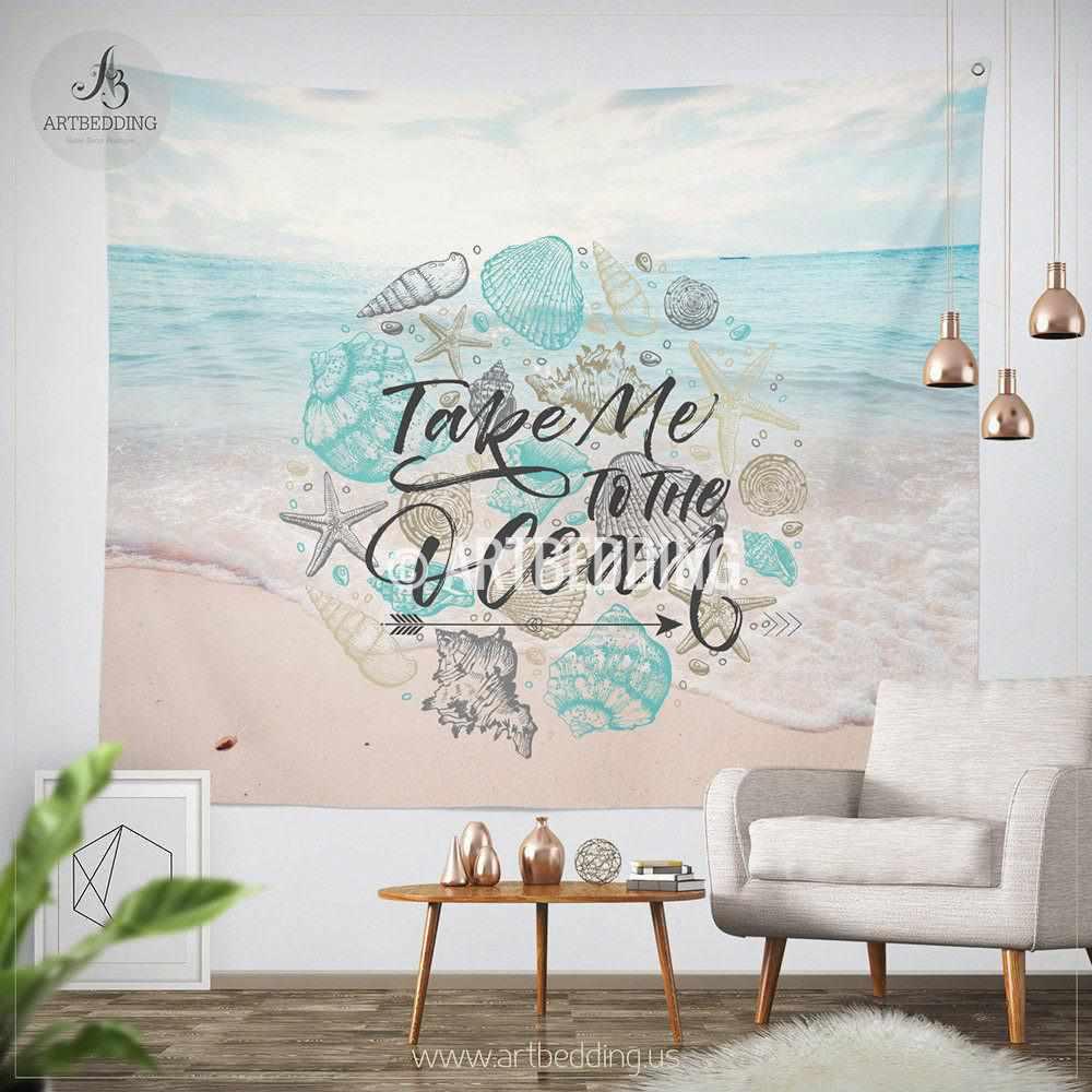 Tropical beach wall tapestry, Tropical beach summer wall