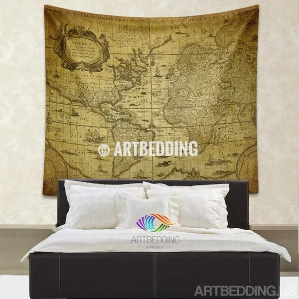 Vintage World Map Wall Tapestry World Map Wall Hanging