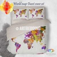 Watercolor world map bedding, Watercolor art print duvet ...