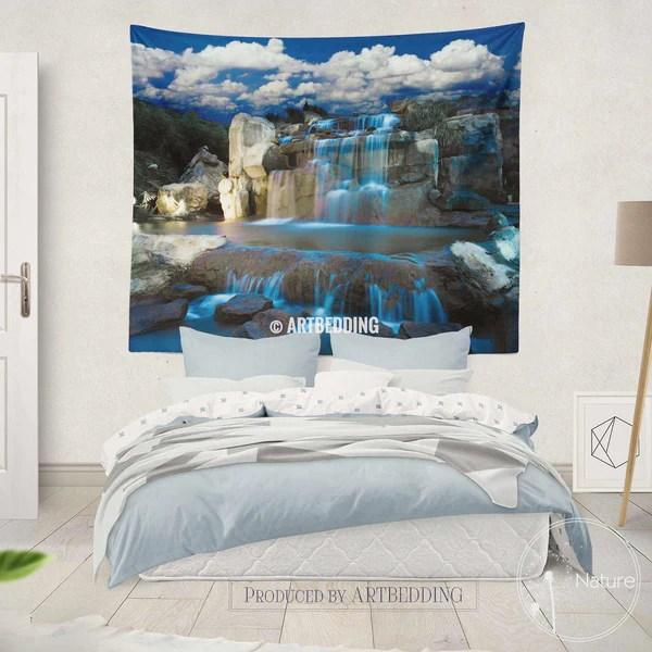 Waterfall wall tapestry Nature wall decor Night